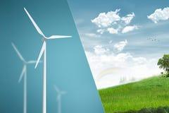 Windturbine - denk Groen stock fotografie