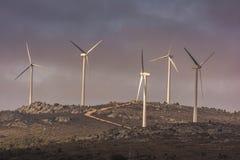 Windturbine die elektriciteit in het windlandbouwbedrijf produceren van Las Labradas in het noorden van de provincie van Zamora i royalty-vrije stock foto