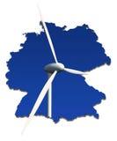 Windturbine in einer abstrakten Karte von Deutschland Lizenzfreies Stockbild