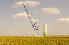 Windturbine im Bau Stockfotografie