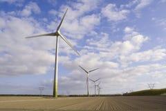 Windturbine op het gebied Stock Foto