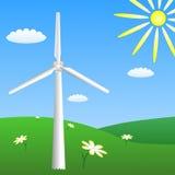 Windturbine op zonnige weide Vector eps10 Royalty-vrije Stock Afbeeldingen