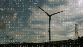 Windturbine und binäre Codierung stock video footage