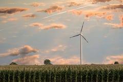 Windturbine in zonsondergang Royalty-vrije Stock Afbeeldingen
