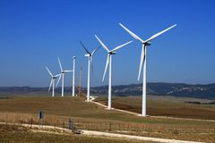 Windturbinebauernhof Stockfotos