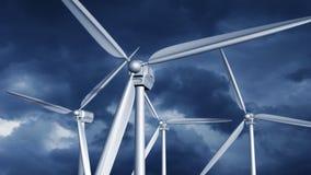 Windturbinen auf dem grünen Gebiet stock abbildung