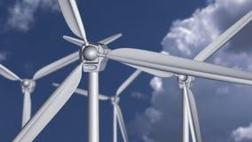 Windturbinen auf dem grünen Gebiet lizenzfreie abbildung