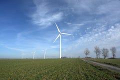 Windturbinen auf einem Gebiet. Stockfotos