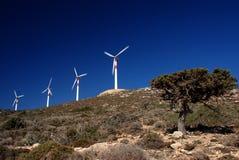 Windturbinen in der Bewegung Stockbilder