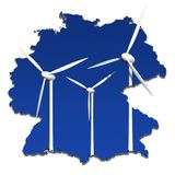 Windturbinen in einer abstrakten Karte von Deutschland Lizenzfreies Stockfoto