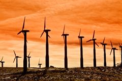 Windturbinen für saubere Energie Stockfotografie
