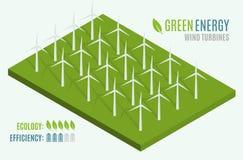 Windturbinen, gelbes Feld Flaches Netz 3d isometrisch Moderne alternative Eco-Grün-Energie Stockfotografie