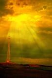 Windturbinen und Fernschreiberpol Lizenzfreies Stockbild