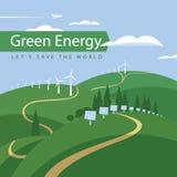 Windturbinen und -Sonnenkollektoren Stockfotos