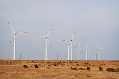 Windturbiner i fältet Arkivfoto