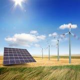 Windturbiner och sol- paneler Royaltyfri Fotografi