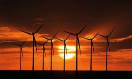 windturbines захода солнца Стоковое Изображение RF