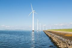 Windturbines along the Dutch coast Royalty Free Stock Photography
