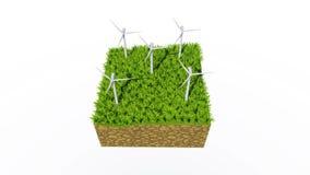 Windturbines bij de groene 3D animatie van het grasconcept stock videobeelden