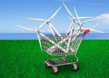 Windturbines in boodschappenwagentje, 3D illustratie Stock Afbeelding