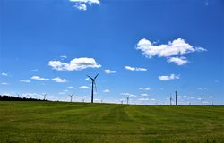 Windturbines in Chateaugay, Franklin County, in upstate New York, Verenigde Staten stock fotografie