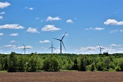 Windturbines in Chateaugay, Franklin County, in upstate New York, Verenigde Staten royalty-vrije stock afbeelding