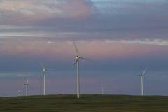 Windturbines die op een open gebied roteren Royalty-vrije Stock Foto's