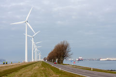 Windturbines Dutch in harbor of Rotterdam Royalty Free Stock Images