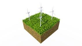 Windturbines en groen gras op witte achtergrond stock footage