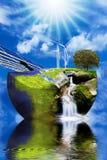 Windturbines en zonnepanelen op het Aardebeeld Stock Foto