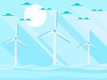 Windturbines in het overzees Landschap in een vlakke stijl met een lange schaduw Vernieuwbare energie Vector Stock Foto's