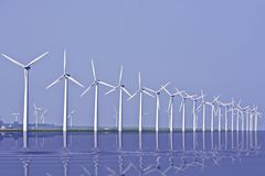 Windturbines at the IJsselmeer in Holland Royalty Free Stock Photos