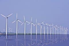 Windturbines in IJsselmeer in Holland Royalty-vrije Stock Foto's