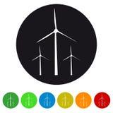 Windturbines - Kleurrijke Vectorpictogrammen Royalty-vrije Stock Afbeelding