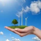 Windturbines met boom in vrouwelijke hand Stock Afbeelding