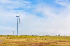 Windturbines in natuurlijk groen landschap - blauwe hemel Stock Afbeeldingen