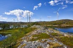 Windturbines in Noorwegen, Scandinavië Royalty-vrije Stock Foto's