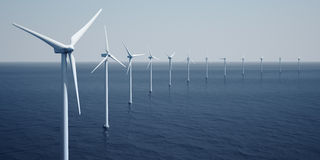 Windturbines on the ocean vector illustration