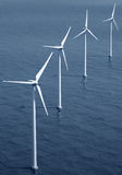 Windturbines on the ocean. 3d rendering of windturbines on the ocean royalty free illustration