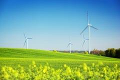 Windturbines op de lentegebied Natuurlijke energie Stock Foto