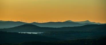 Windturbines op de Richel van Vermont stock afbeelding