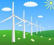Windturbines op een gebied met camomiles Royalty-vrije Stock Afbeeldingen