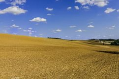 Windturbines op een gebied met een toneel blauwe hemel Royalty-vrije Stock Foto's