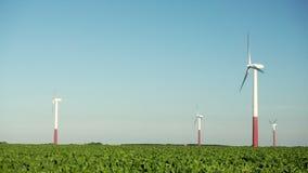 Windturbines op een landbouwgebied tegen een blauwe hemel stock videobeelden