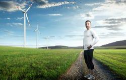 Windturbines op een weide Stock Foto