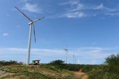 Windturbines op het Guajira-Schiereiland stock afbeeldingen