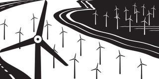 Windturbines op land en op zee royalty-vrije illustratie