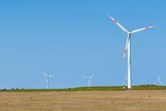 Windturbines op plateau Paul da Serra, Madera Stock Foto's