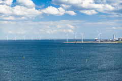 Windturbines and Oresund Bridge Royalty Free Stock Photography