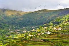 Windturbines over Wijngaarden Stock Afbeeldingen